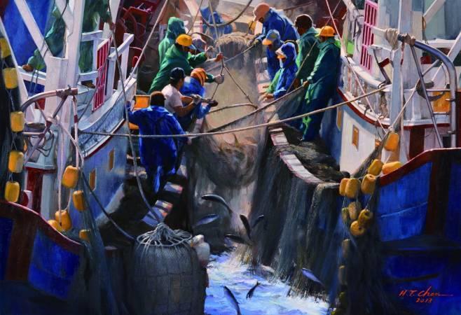 陳輝東,《豐收烏魚季》,2013。圖/國立台灣美術館提供。