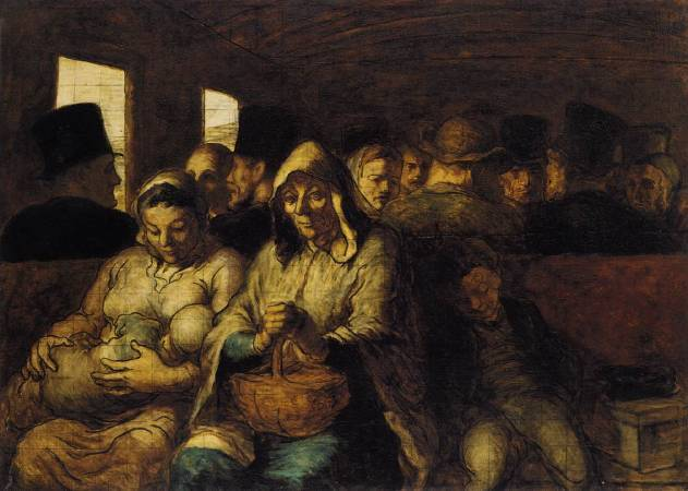 Honoré Daumier,《A Wagon of the Third Class》。圖/取自wikiart。