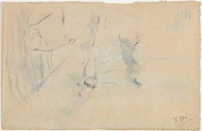 《連綿的艾托伊爾山峰》背面草圖。
