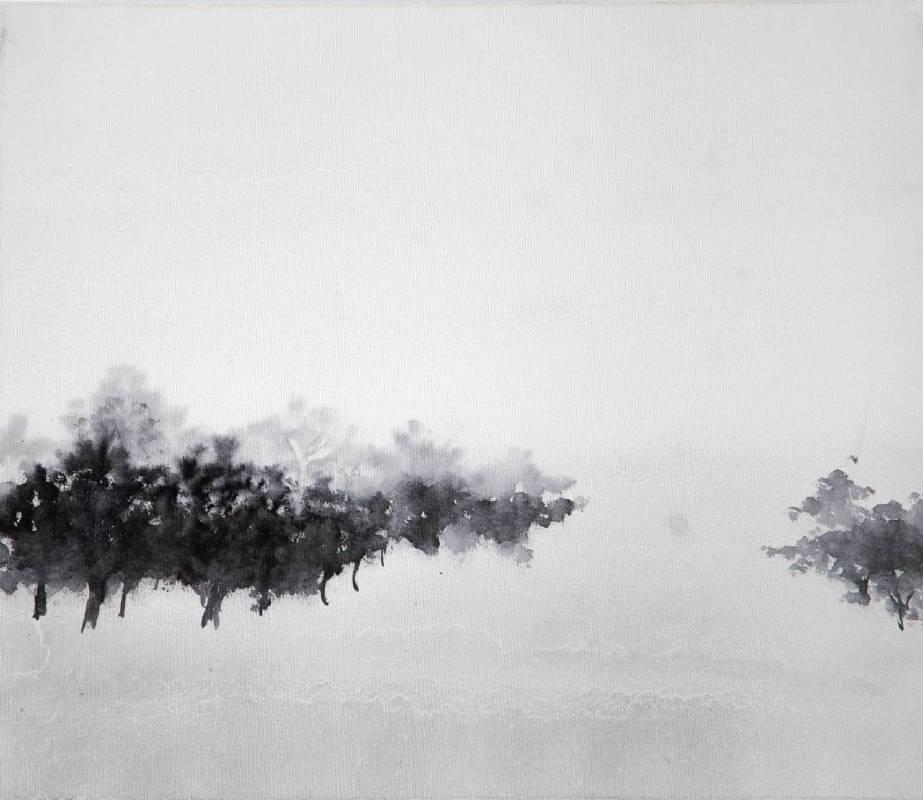 洪米貞,群林,2014,45.5x53cm,畫布水墨