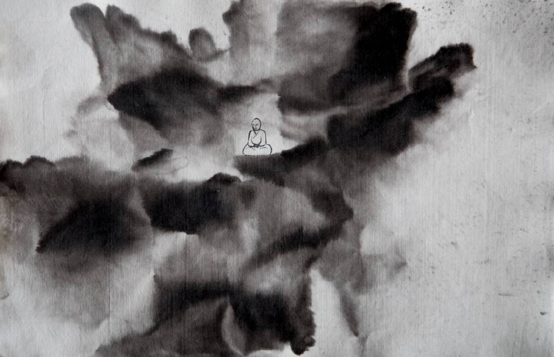 洪米貞,蓮花座,2014,23x35cm,宣紙水墨
