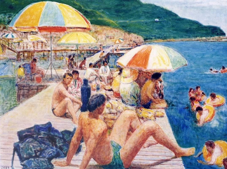 [巨擘薪傳] 前輩畫家聯展  李石樵 翡翠灣 91x72.5cm(30F)1989 油彩.