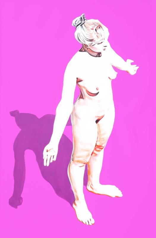 Tom Schulhauser_doom magenta standingnude_Oil on Canvas160 x 105cm_2014