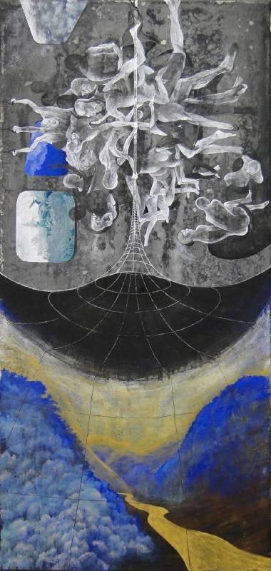 渡山水, 膠彩,壓克力,麻布, 108x51cm, 2015
