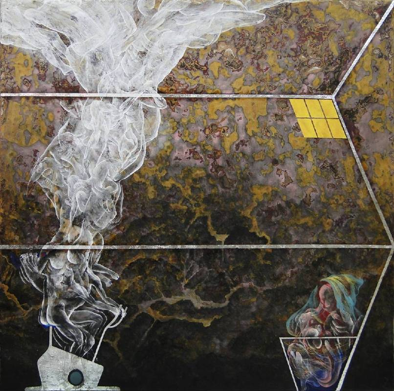 裊人2, 膠彩,壓克力,麻布,  55.5x55.5cm, 2015