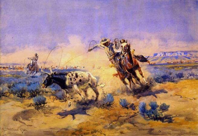Charles M. Russell,《Cowboys from the Quarter Circle Box》,1925。圖/取自wikiart。