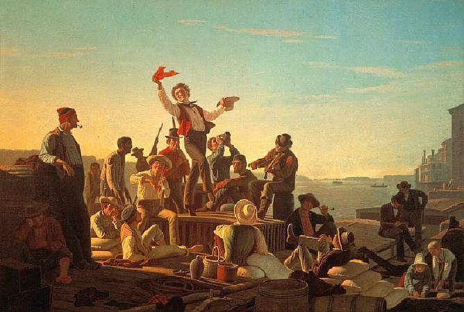 George Caleb Bingham,《Jolly Flatboatmen in Port》,1857。圖/取自維基百科。