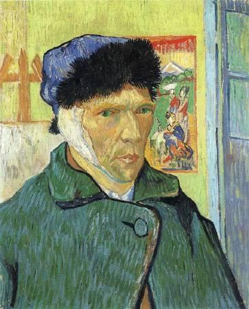 Van Gogh,《self portrait with bandaged ear》,1889。圖/取自wikiart。