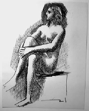 畢卡索《坐著的裸女》。
