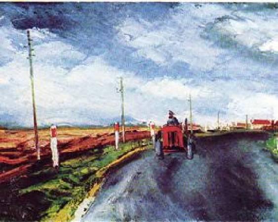 烏拉曼克,《紅色拖拉機》,圖/取自wikiart。