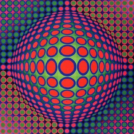 Victor Vasarely,《Vega 200》,1968。圖/取自wikiart。