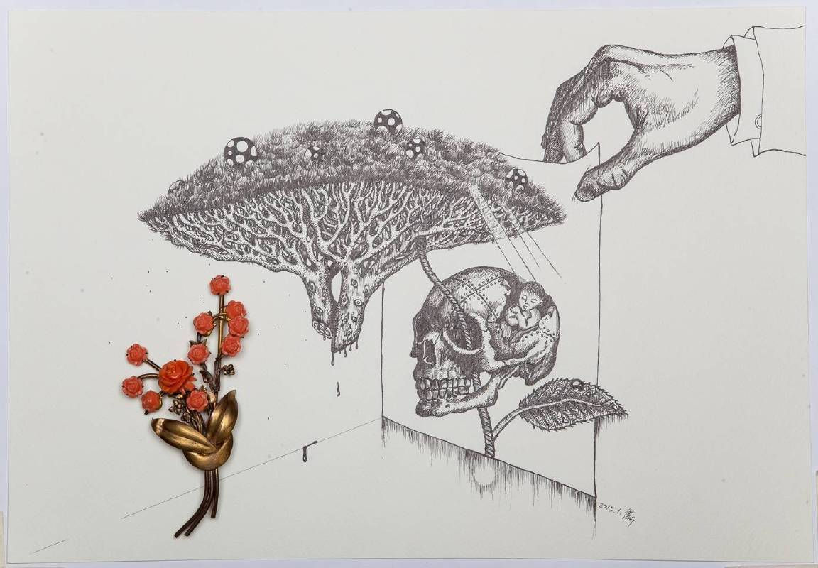 何思芃,痴之習作,2015,紙上作品,39 x 27 cm