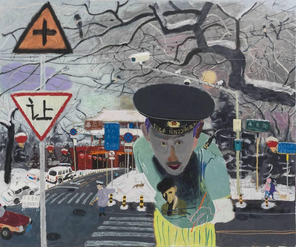 王玉平,《西華門、自畫像》,2015, 油彩、丙烯/畫布,200 x 220 cm