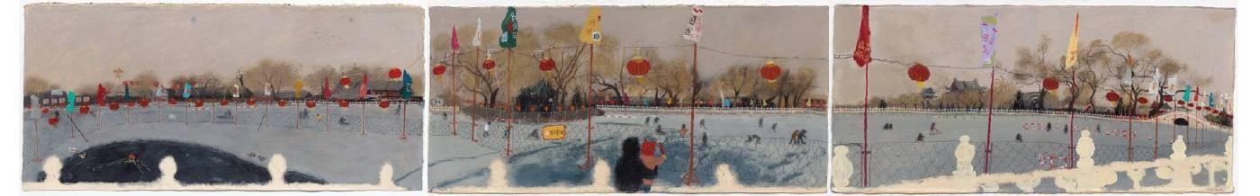 王玉平,《什海冰場》,2015,壓克力顏料、油畫棒/紙,43.5 x 285 cm