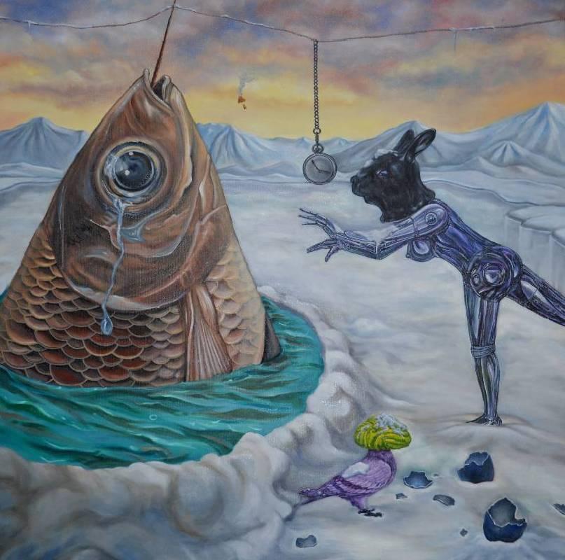 魔術師的催眠秀 magician's hypnotism 油彩畫布 100X100CM  2014