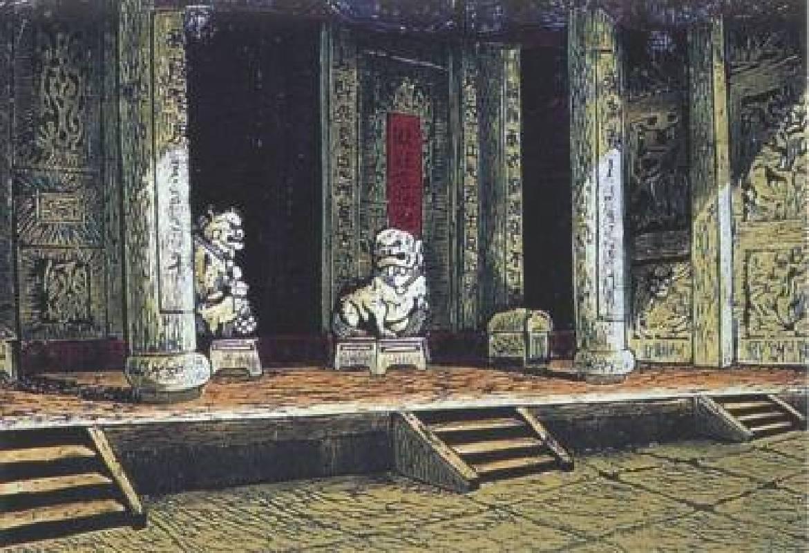 陳原成,塵 緣,木刻版畫,50 x 70 cm,1983,國立台灣美術館、台北市立美術館典藏