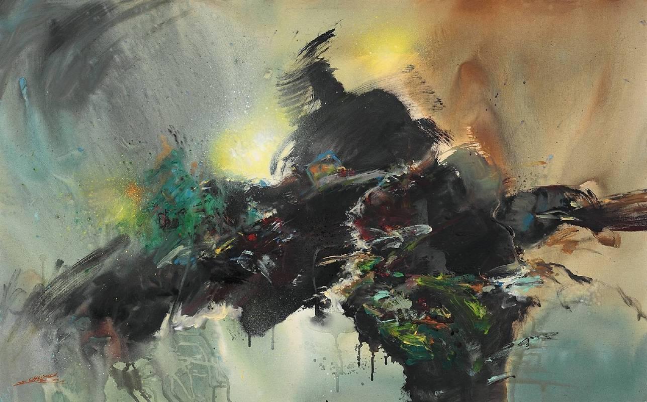 陳原成,探原系列,「舞動山水」,72.5cm x 116.5cm,壓克力、油彩、畫布 50M,2011