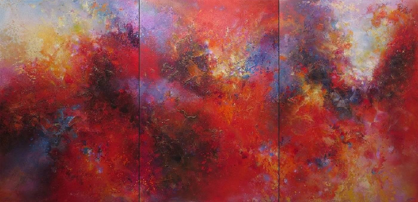 陳原成,探原系列「創世紀之2」,162cm x 336cm,300號  x 3  ( 三連作 ),油彩、壓克力凡尼斯、畫布,2013