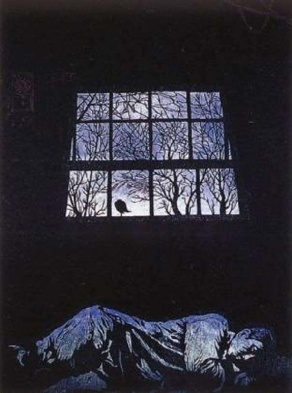 陳原成,夜 歌,78 x 52 cm,木刻版畫,1991,國立台灣美術館典藏