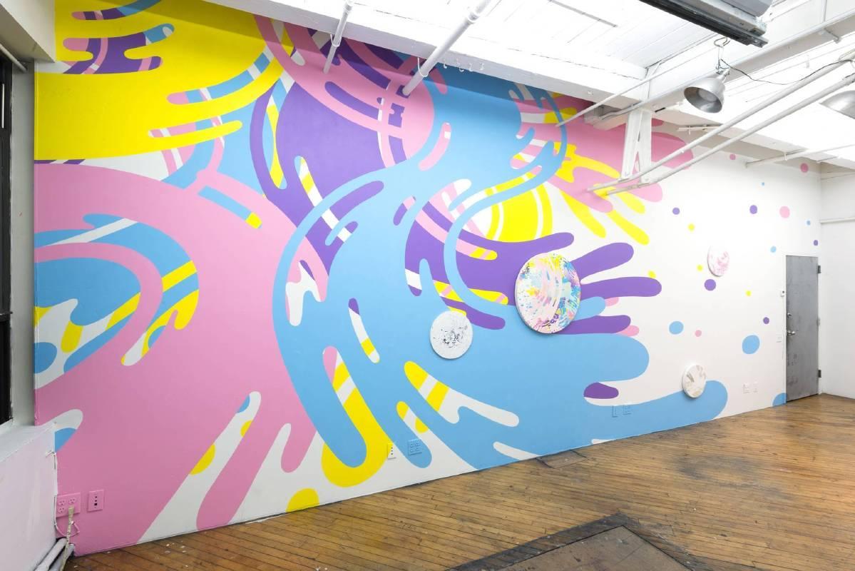 Asae SOYA__Circulate_ dimension variable _ Paint on Wall, Mixed Media_2014