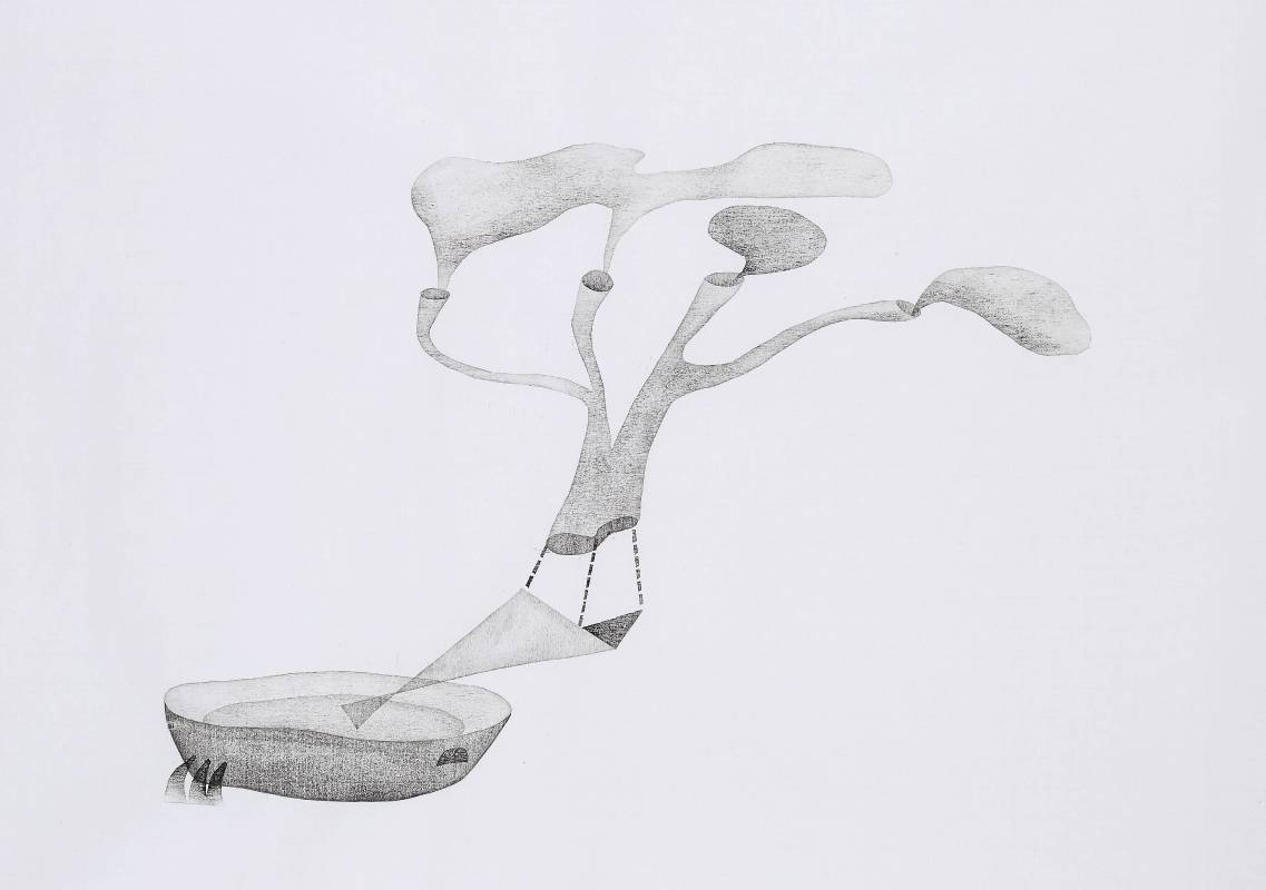 張婷雅《吐吶間》盆景一株,水印木刻,2015。66.5x81cm