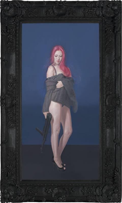 李承道《弱女孩》。152x90x8cm(frame)、120x60cm(image)。油彩、畫布,2015