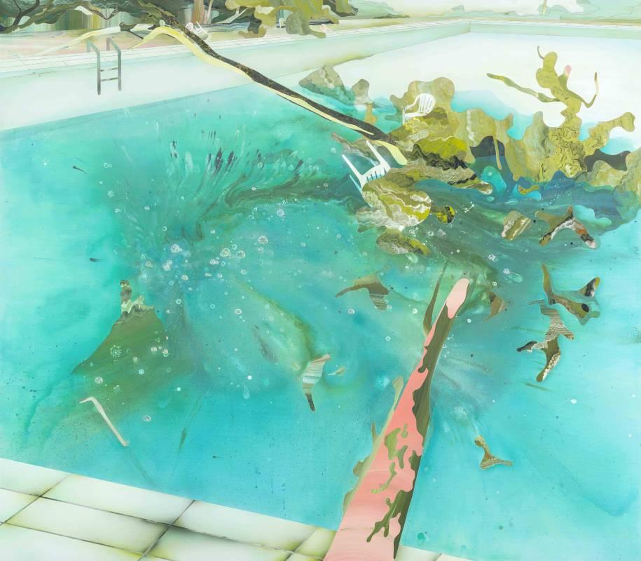 范揚宗《泳池系列-潮濕的氣味》140x160 cm,壓克力、畫布,2015