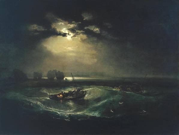 J.M.W.Turner,《Fishermen at Sea exhibited》,1976。圖/取自Wikipedia。