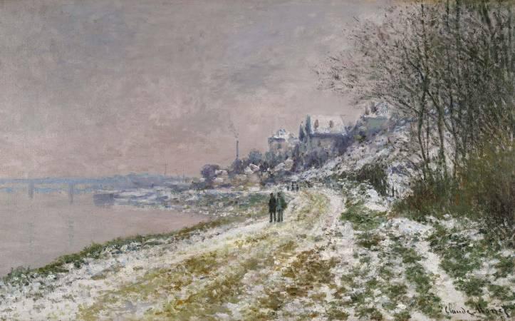 莫內《埃皮奈道路雪景》。