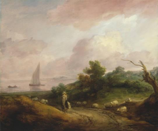 Thomas Gainsborough,《Coastal Landscape with a Shepherd and His Flock》,1783-84。圖/取自Wikipedia。