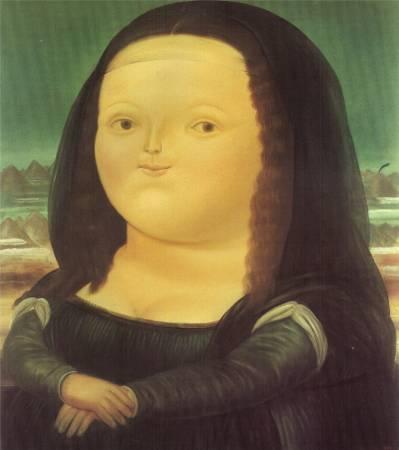 費南多‧波特羅《蒙娜麗莎12歲》。圖取自Wiki Art。
