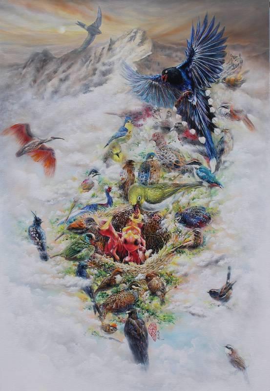 成定瑜《守護台灣》,油畫,100號,2014