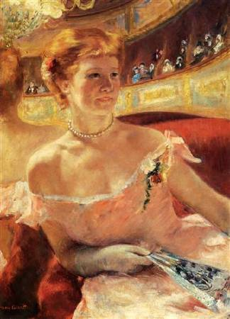 Mary Cassatt,《Woman with a Pearl Necklace》,1879。圖/取自Wikiart。