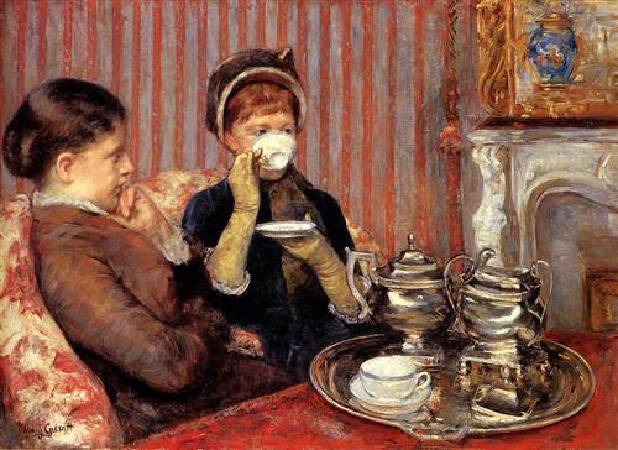 Mary Cassatt,《The Tea》,1879-80。圖/取自Wikiart。