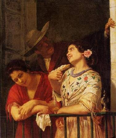 Mary Cassatt,《The Flirtation A Balcony in Seville》,1872。圖/取自Wikiart。