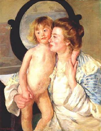 Mary Cassatt,《Mother and Child》,1898。圖/取自Wikiart。