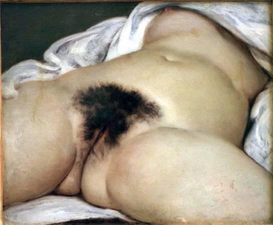 法國寫實主義畫家庫爾貝《世界的起源》。圖/取自Wikipedia。