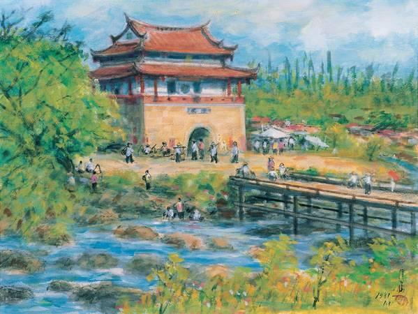 李澤藩,《東門城》,1981。台北市立美術館收藏。