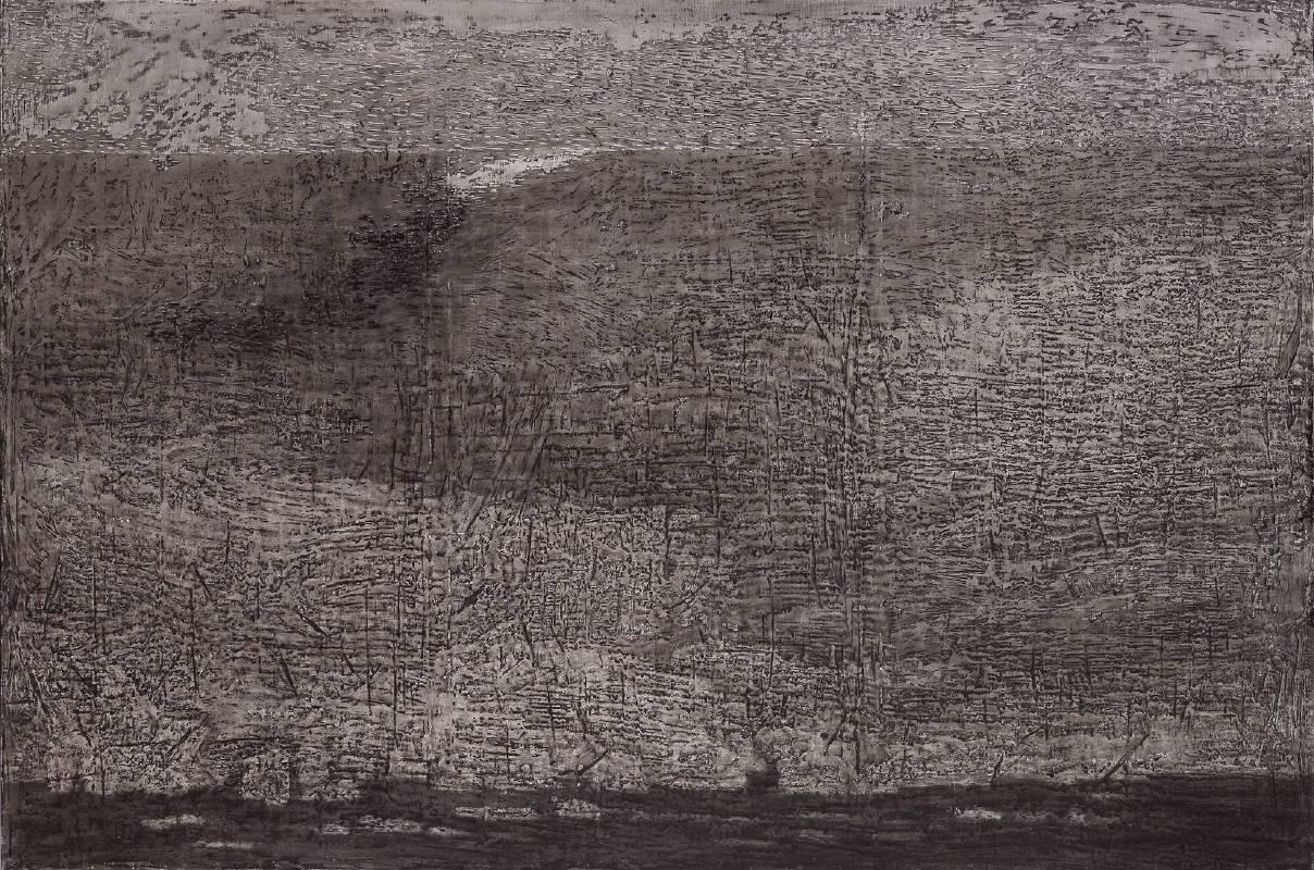 後院系列-荖濃溪畔夕照,150x150cm,2007,壓克力 顏料 墨 增厚劑 畫布