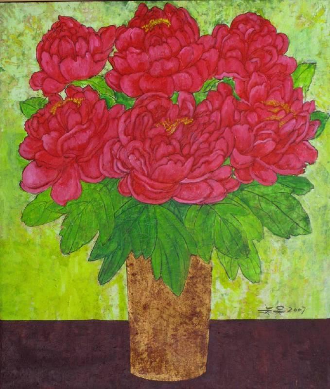 吳昊-大紅牡丹-油畫-53x45cm/10F-2007