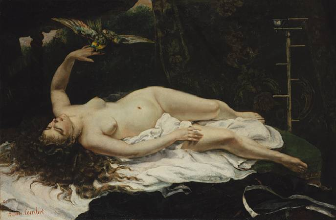 Gustave Courbet,《Woman with a Parrot》,1866。圖/取自wikiart