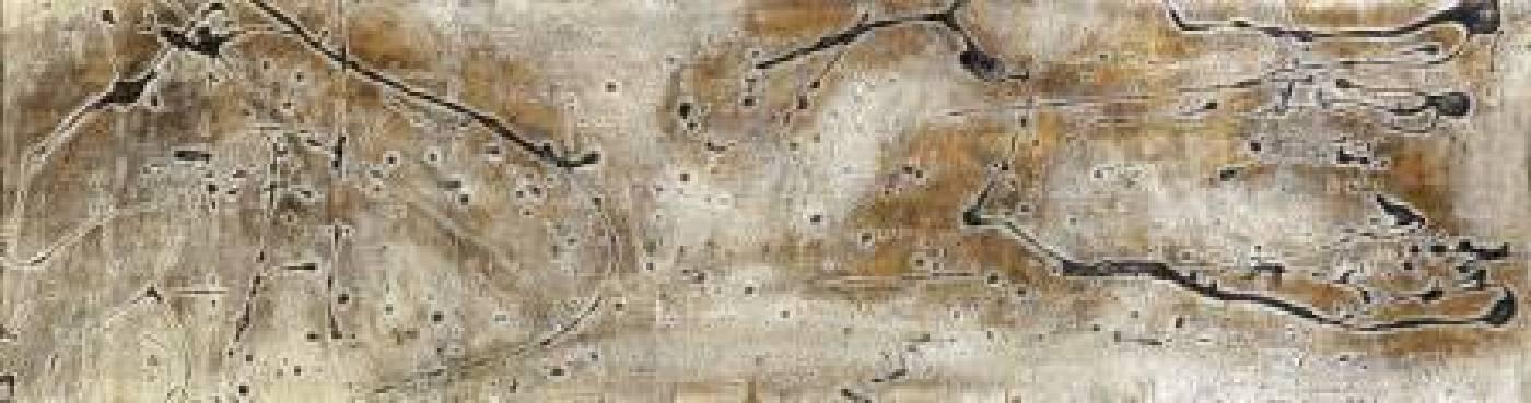 汪天亮  禪心如月  185x50 cm  漆、複合媒材  2012