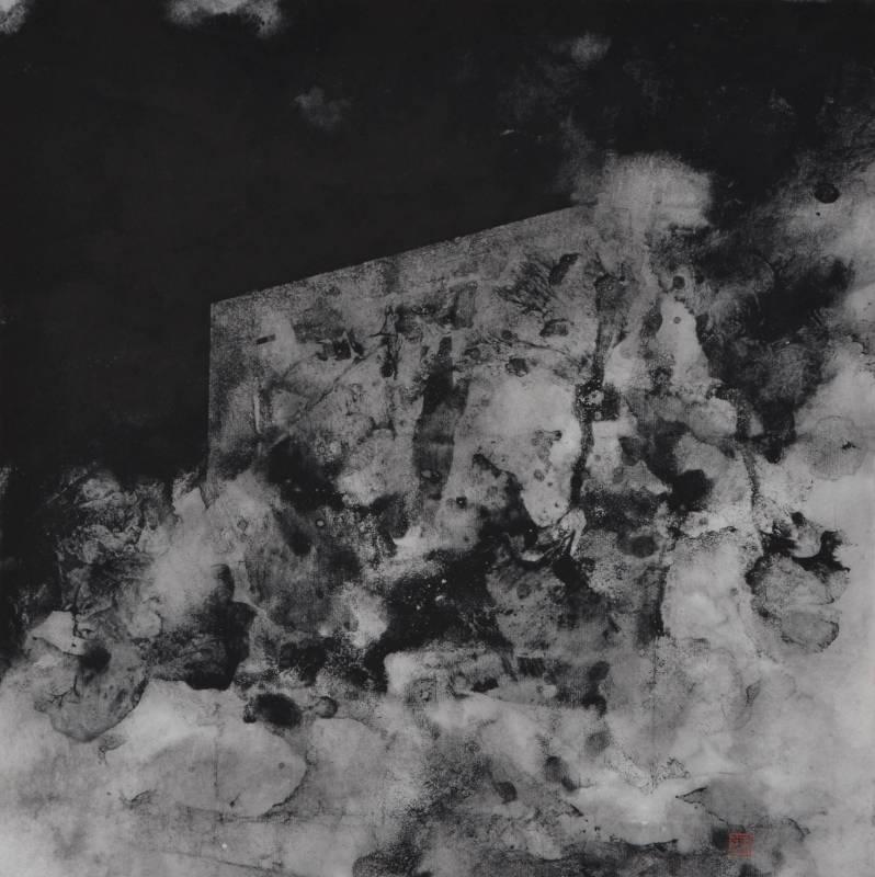 張益昇  漂流城市-壓抑   35×35cm   水墨紙本   2014