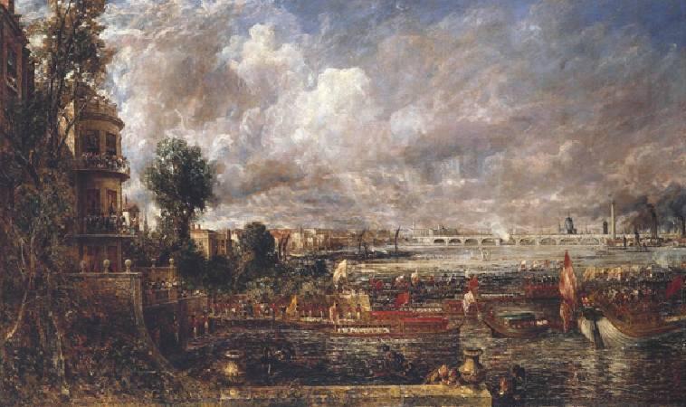 康斯特勃《滑鐵盧大橋的揭幕典禮》。圖/取自Wikipedia。