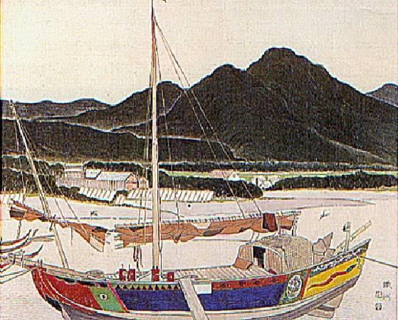 呂鐵州,《戎克船》,1942