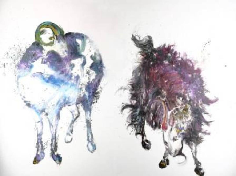 堉泉Yu Chuan, 二羊圖 Sheep and Goat, 150x200cm, 油畫, 2015
