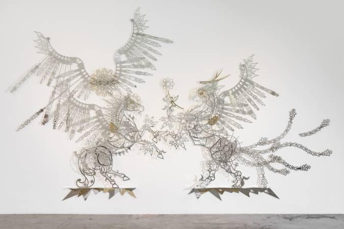 席時斌,《告知-來自飛馬與獅鷲獸的神話》,2015。圖/索卡藝術提供。