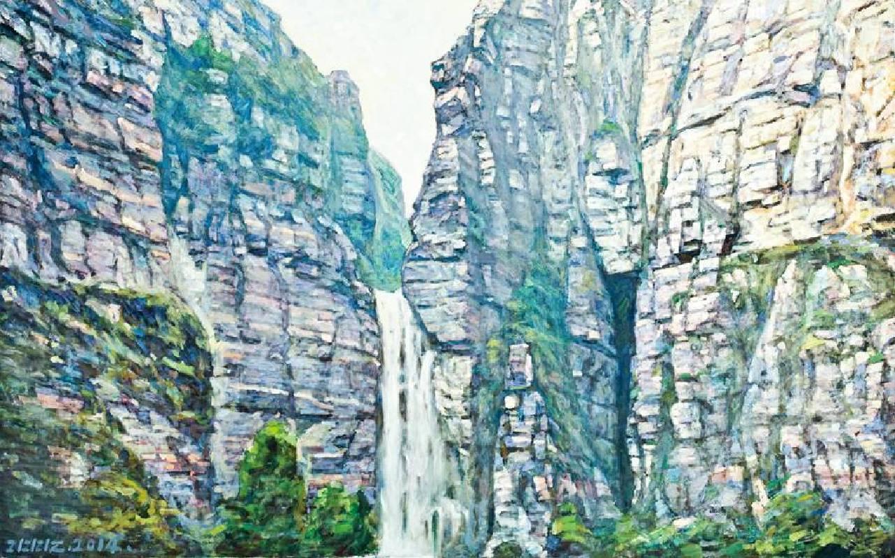 李全淼  蒼岩垂瀑  100x160cm  油畫  2014