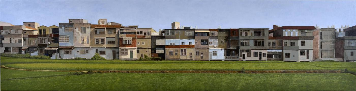 陳明德  湖口  61x236cm  油畫、木板  2015