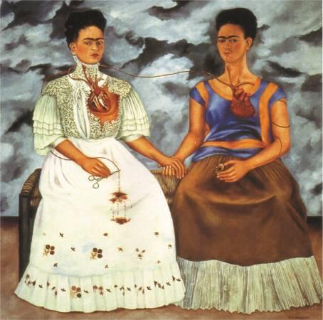 Frida Kahlo,《The Two Fridas》,1939。圖/取自 wikiart。